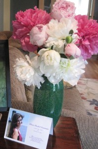 Olivia's photo at our front door with peonies, which fittingly represent healing and life.