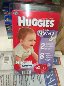 The rip-off package of two diapers and eight wipes.  No thanks (but good to know they're there)!